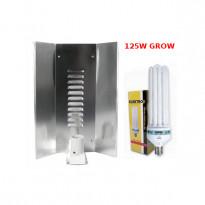 LAMPA CFL ZESTAW 125W, ENERGOOSZCZĘDNY, ELEKTROX GROW (wzrost) + WZMACNIANY ODBŁYŚNIK ELEKTROX &quot