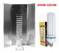 LAMPA CFL ZESTAW 200W, ENERGOOSZCZĘDNY, ELEKTROX GROW (wzrost) + WZMACNIANY ODBŁYŚNIK ELEKTROX &quot
