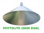 """LAMPA CFL ZESTAW 200W, ENERGOOSZCZĘDNY, PHYTOLITE DUAL (wzrost+kwitn.) + ODBŁYŚNIK PIONOWY """"PAR"""