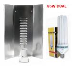 LAMPA CFL ZESTAW 85W, ENERGOOSZCZĘDNY, ELEKTROX DUAL (wzrost+kwitn.) + WZMACNIANY ODBŁYŚNIK ELEKTROX