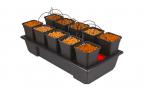 WILMA SMALL WIDE 10, KOMPLETNY SYSTEM HYDROPONICZNY, 10xDONICA 6L, 116x59xh41cm / 85L